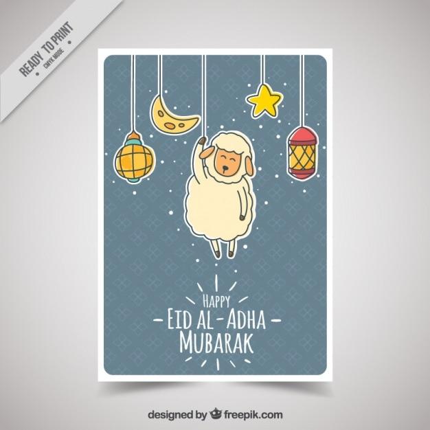Eid Heureux Al-adha Avec Des Objets Suspendus Vecteur Premium