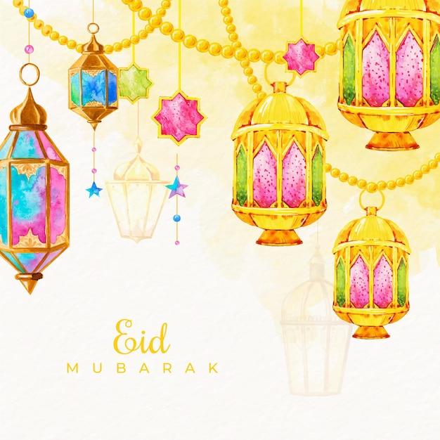 Eid Mubarak Aquarelle Avec Des Bougies Suspendues Vecteur gratuit