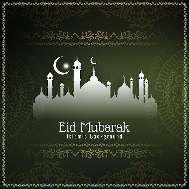 Eid mubarak élégant vert décoratif Vecteur gratuit