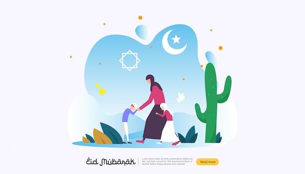 Eid mubarak heureux avec le caractère de personnes pour la page de destination web Vecteur Premium