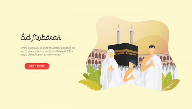 Eid mubarak heureux avec la page d'atterrissage de personnage Vecteur Premium