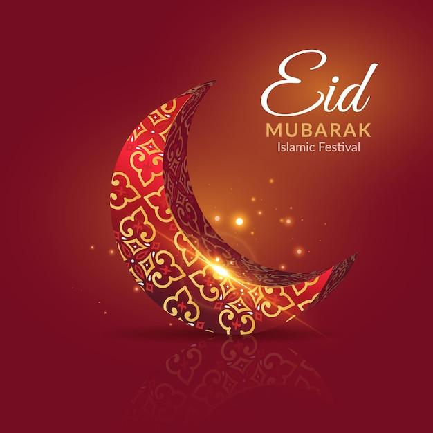 Eid Mubarak Avec Lune Rouge Et Dorée Vecteur gratuit