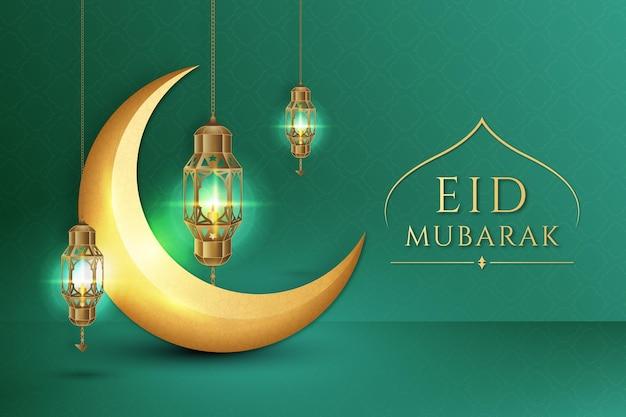 Eid Mubarak Réaliste De Lune Dorée Vecteur gratuit