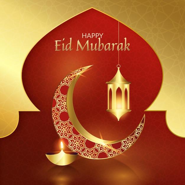 Eid Mubarak Réaliste De Lune Rouge Et Dorée Vecteur gratuit