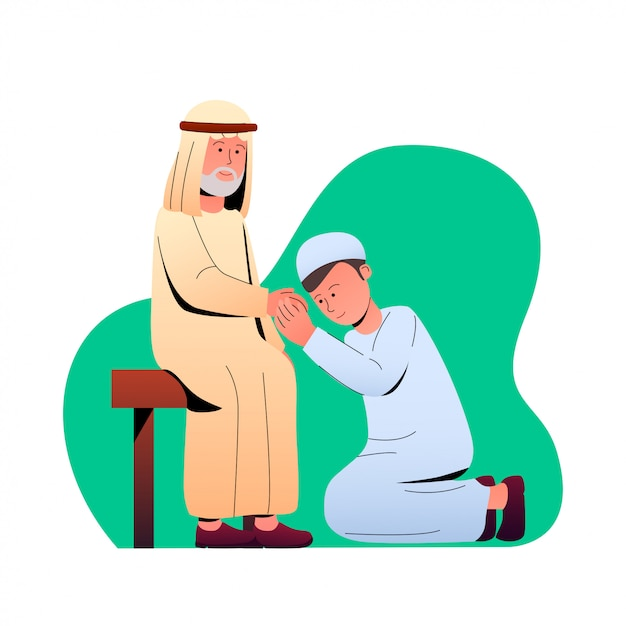 Eid mubarak tradition pardonneur illustration Vecteur Premium