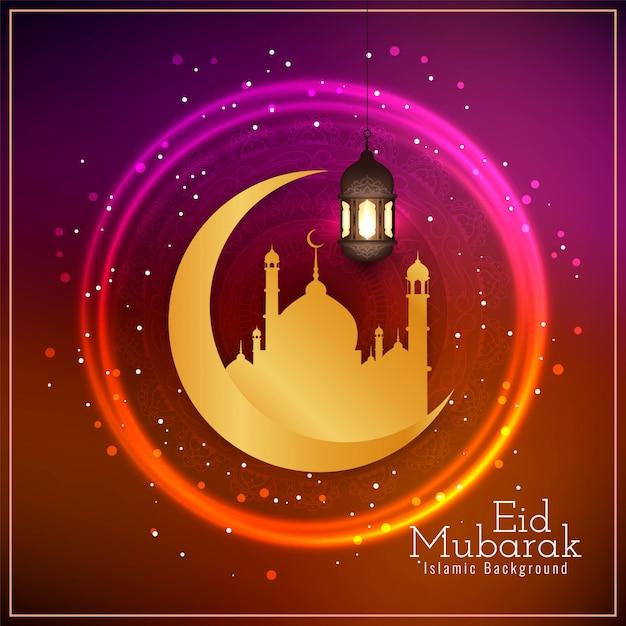 Eid mubarak voeux religieux rougeoyant Vecteur gratuit
