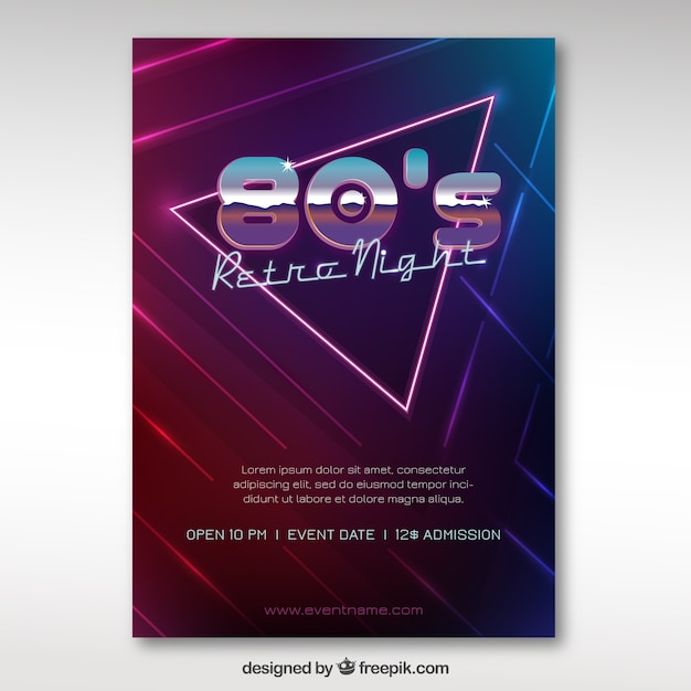 Eighties brochure moderne du triangle Vecteur gratuit