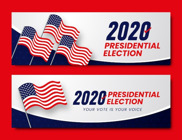 Élection Présidentielle Américaine 2020 - Bannières Vecteur Premium