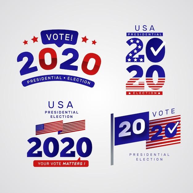 Élection Présidentielle Américaine 2020 - Logos Vecteur Premium