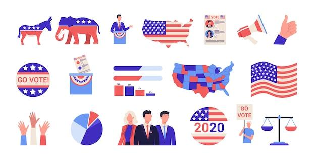 Élection Présidentielle Dans Le Jeu D'icônes Usa. Campagne électorale . Idée De Politique Et De Gouvernement Américain. Les Gens Votent Pour Le Candidat. Démocratie Et Gouvernement. Vecteur Premium