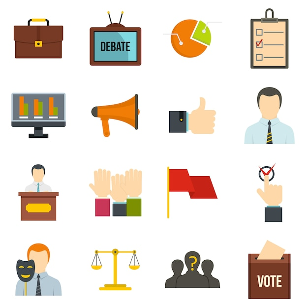 Élection de vote icônes définies dans un style plat Vecteur Premium