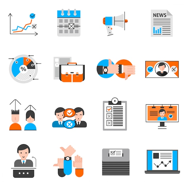 Élections et vote icons set Vecteur gratuit