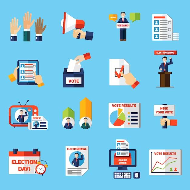 Élections Et Vote Plat Icons Set Vecteur gratuit