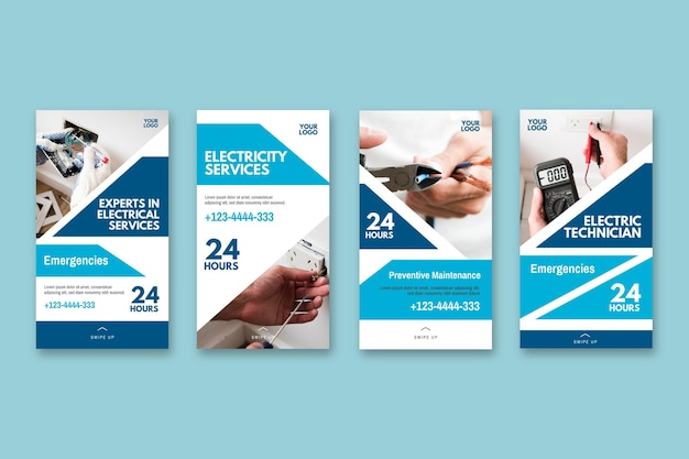 Électricien Ad Instagram Collection D'histoires Vecteur gratuit