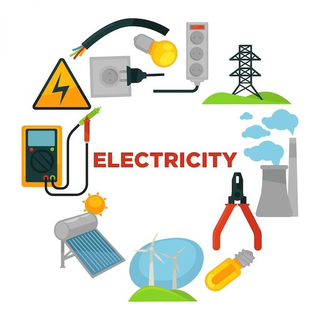 Électricien avec boîte à outils entouré de sources d'électricité et d'outils. Vecteur Premium