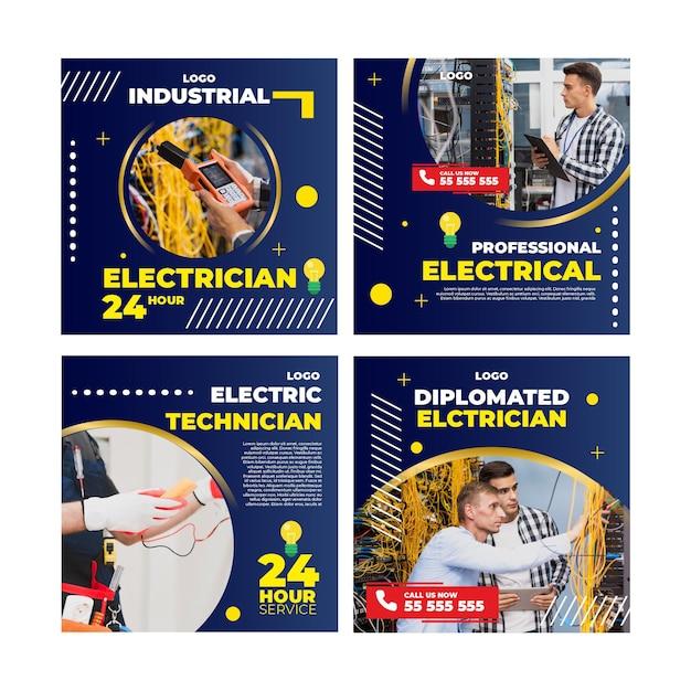 Électricien Instagram Post Vecteur gratuit