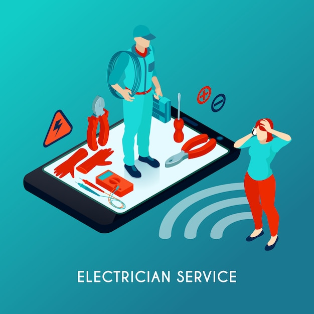 Électricien Service En Ligne Composition Isométrique Avec Réparateur En Uniforme Avec équipement D'outils Sur L'écran Du Smartphone Vecteur gratuit
