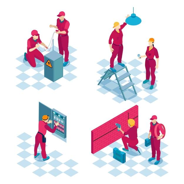 Électriciens Qualifiés Concept D'emploi 4 Compositions Isométriques Avec Installation De Câblage De Construction équipe De Réparation Uniformes Rouges Vecteur gratuit