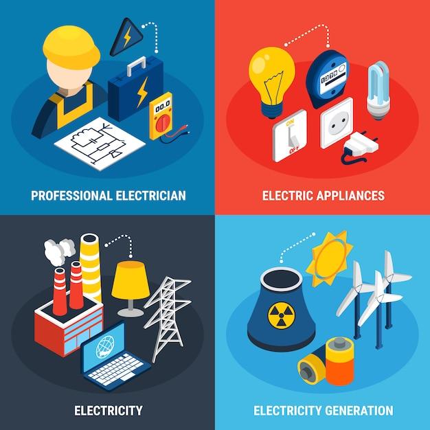 Électricité 3d isométrique icon set Vecteur gratuit