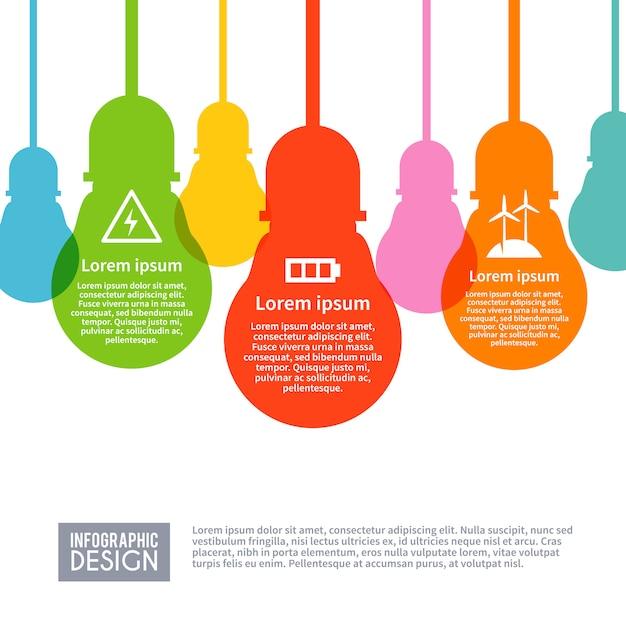Électricité infographie set Vecteur gratuit