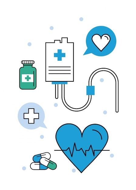 Électrocardiogramme des éléments médicaux Vecteur Premium