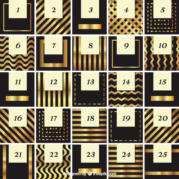 Elégant abstrait calendrier de l'avent d'or Vecteur gratuit