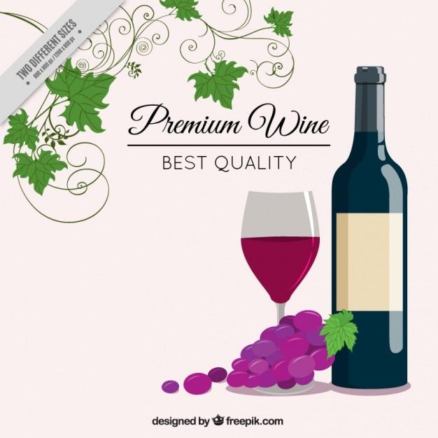 Elegant background avec bouteille de vin Vecteur gratuit