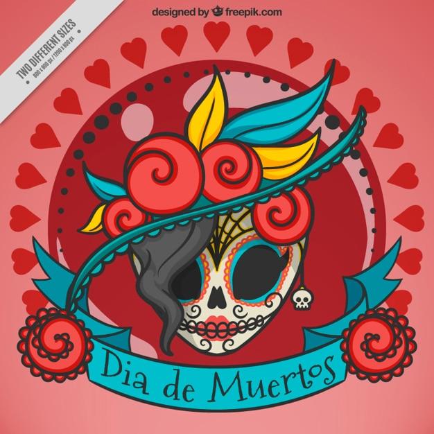 Elegant background du crâne mexicain Vecteur gratuit