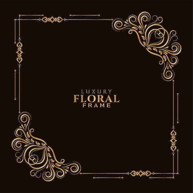 Élégant Cadre Floral Doré Ornemental Vecteur gratuit