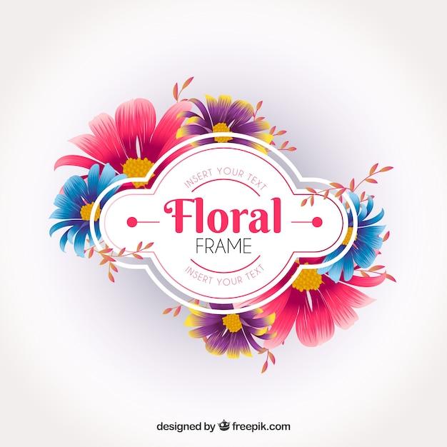 Élégant cadre floral Vecteur gratuit