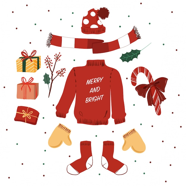 Élégant Chandail Rouge Et éléments De Noël D'hiver Vecteur Premium