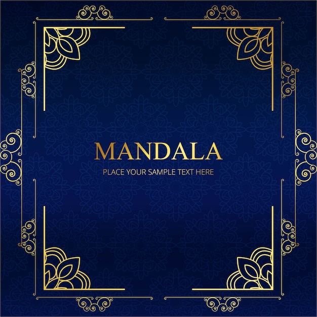 Élégant Design De Cadre De Mandala Bleu Vecteur gratuit