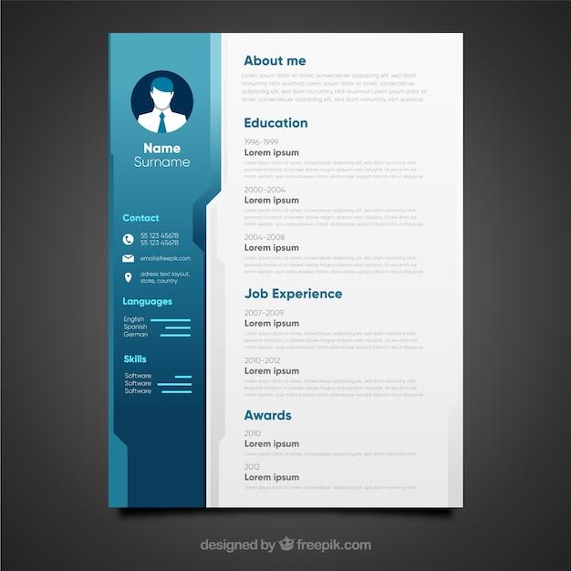 el u00e9gant design cv bleu