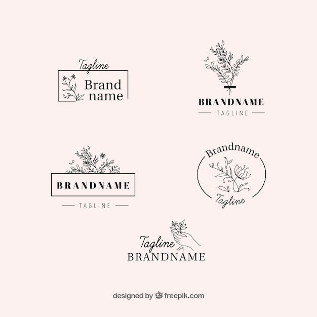 Élégant ensemble de logos floraux Vecteur gratuit