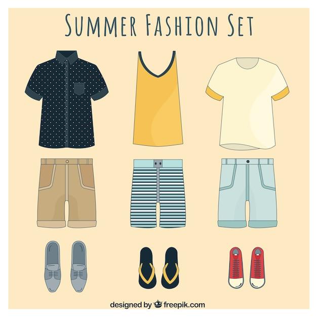 Élégant ensemble de la mode d'été pour les hommes Vecteur gratuit