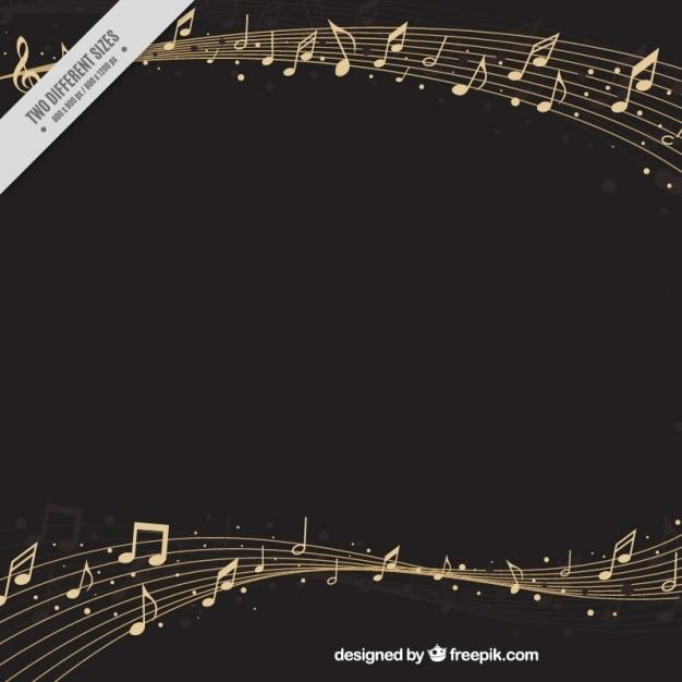 Elégant fond pentagramme avec les notes musicales Vecteur gratuit