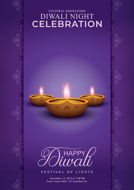 Élégant joyeux diwali décoratif violet Vecteur Premium