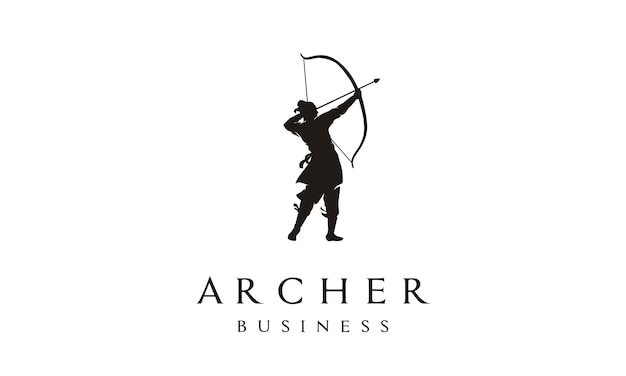 Elégant logo archer Vecteur Premium