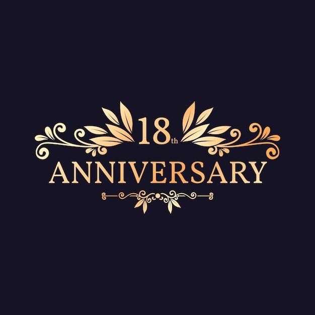 Élégant Logo Doré Du 18e Anniversaire Vecteur Premium
