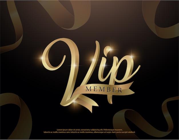 Élégant logo d'invitation de membre vip ou lettrage premium or carte Vecteur Premium