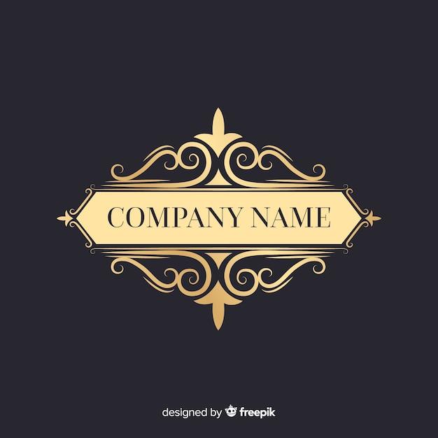 Elégant Logo Ornemental Avec Nom De L'entreprise Vecteur Premium