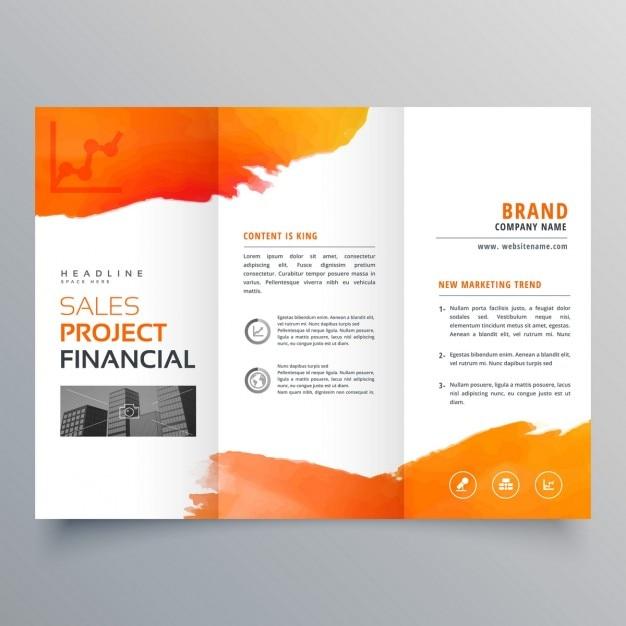 Élégant modèle de brochure à trois volets d'affaires créatif avec la conception d'encre d'orange Vecteur gratuit