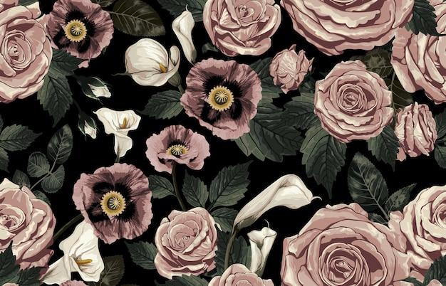 Élégant modèle sans couture de fleurs rustiques tons blush Vecteur Premium