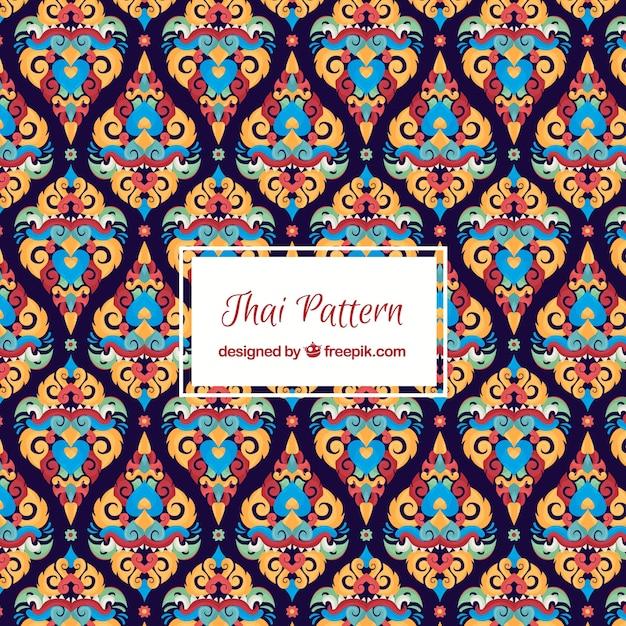 Élégant motif thaïlandais avec un design plat Vecteur gratuit