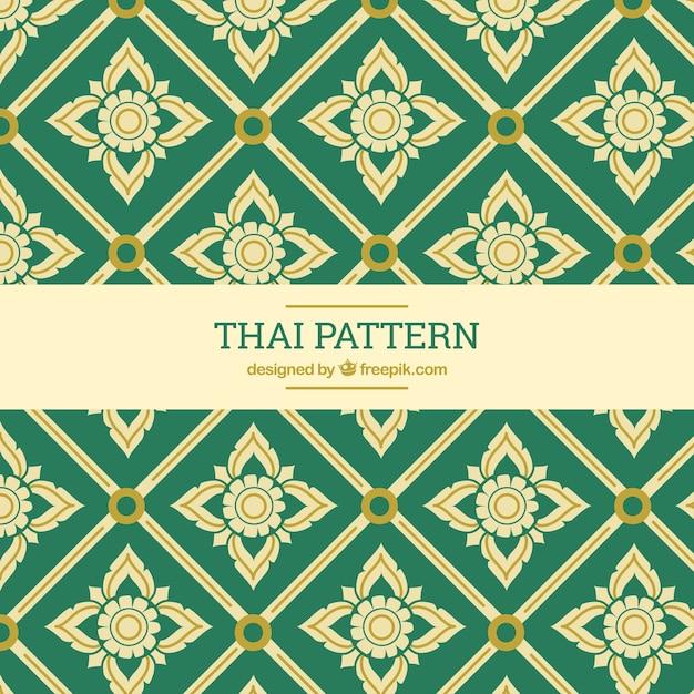 Élégant motif thaïlandais vert Vecteur gratuit