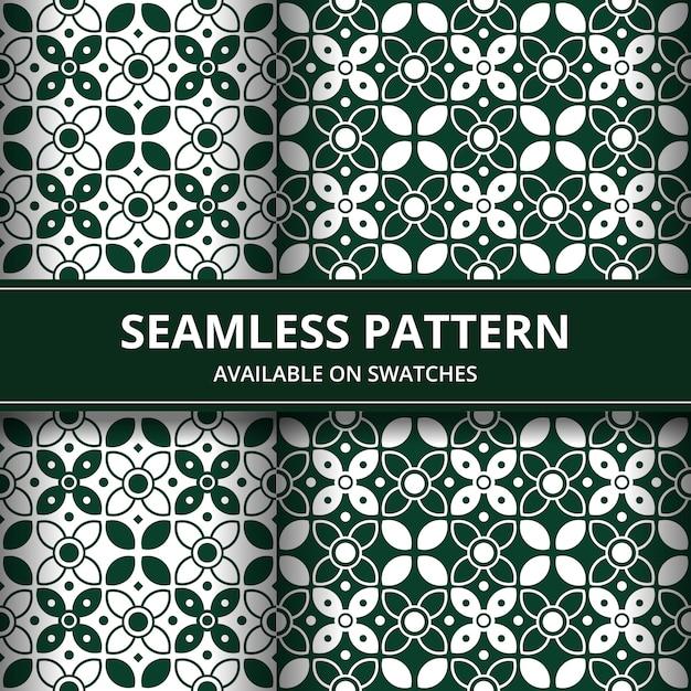 Élégant Papier Peint De Fond Sans Couture Batik Traditionnel Indonésie Dans Un Ensemble De Style Classique Vert Vecteur Premium