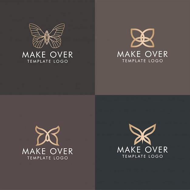 Élégant Papillon Minimaliste Logo Monogramme Or Modifiable Vecteur Premium