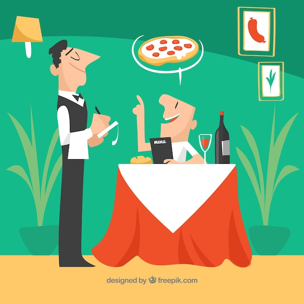 Elégant restaurant italien avec plat deisgn Vecteur gratuit