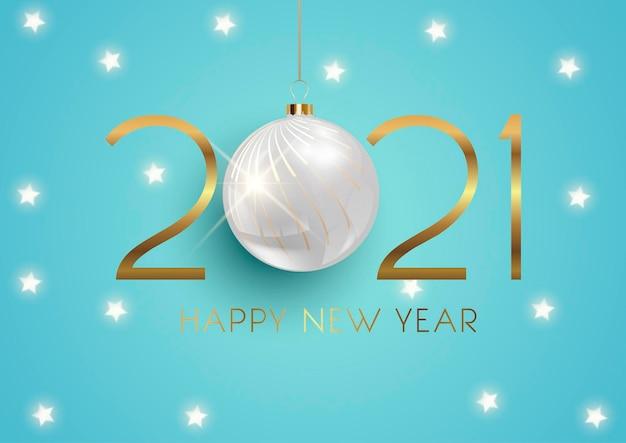 Élégante Bonne Année Avec Boule Suspendue Et Conception D'étoiles Dorées Vecteur gratuit