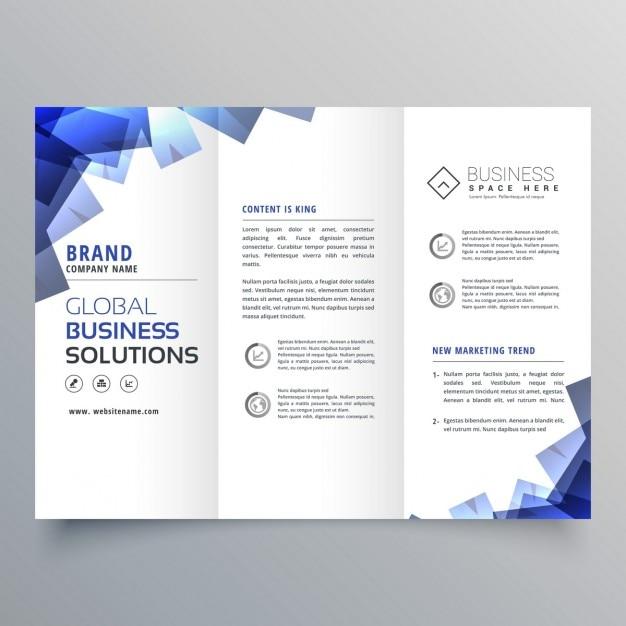 Élégante brochure à trois volets avec des formes abstraites bleu Vecteur gratuit